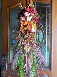 Fall Door Swag - Fall Wreath -Thanksgiving decor - Door decor - fall door swag - Julie Butler Creations