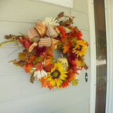 Fall Thanksgiving wreath - Autumn Wreath - sunflower wreath - Fall wreath - Thanksgiving decorations - Julie Butler Creations
