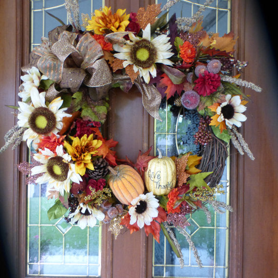Autumn Wreath - Fall Sunflower wreath - door Wreaths -  - Fall wreath - Thanksgiving decorations