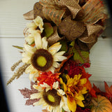 Autumn Wreath - Fall Sunflower wreath - door Wreaths -  - Fall wreath - Thanksgiving decorations - Julie Butler Creations