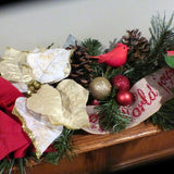 Christmas Garland - Red and gold garland - Christmas mantel swag - Julie Butler Creations