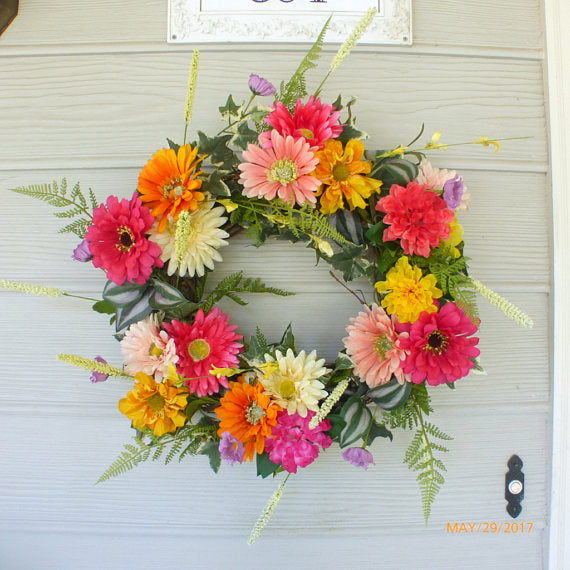 Summer Daisy wreath - wreath - floral wreaths- Home decor - Gerbera Daisy wreath - Zinnia wreath
