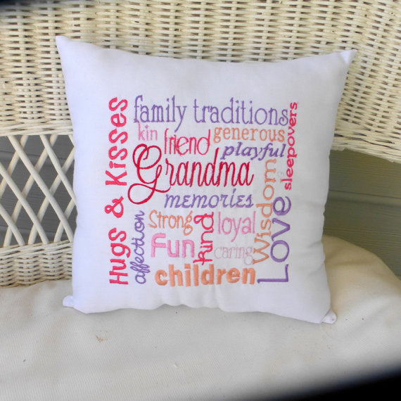 Grandma pillow - Embroidered Grandma pillow - Gift for Grandma - personalized gifts