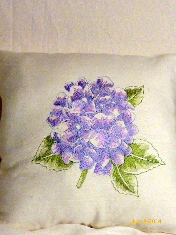 Hydrangea pillow - Embroidered pillow - Linen pillow - embroidered hydrangea pillow - Julie Butler Creations
