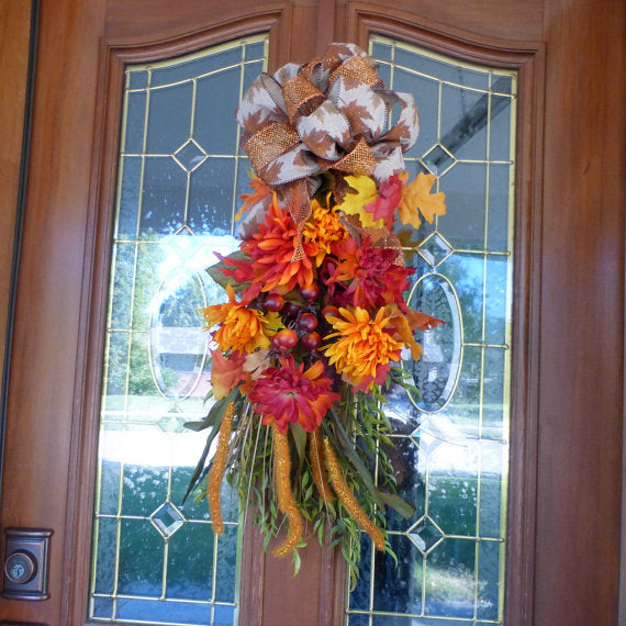 Autumn door swag - Thanksgiving Door Swags - Fall door swags - French Country Decor - Julie Butler Creations