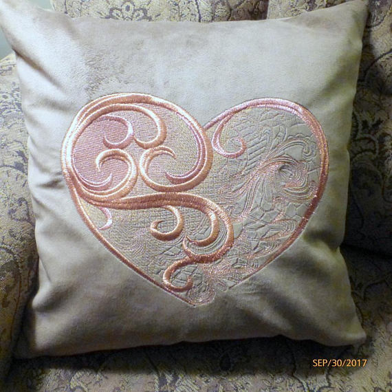 Embroidered Velvet pillow cover - Pillow Covers - velvet pillow - Heart pillow cover - Julie Butler Creations