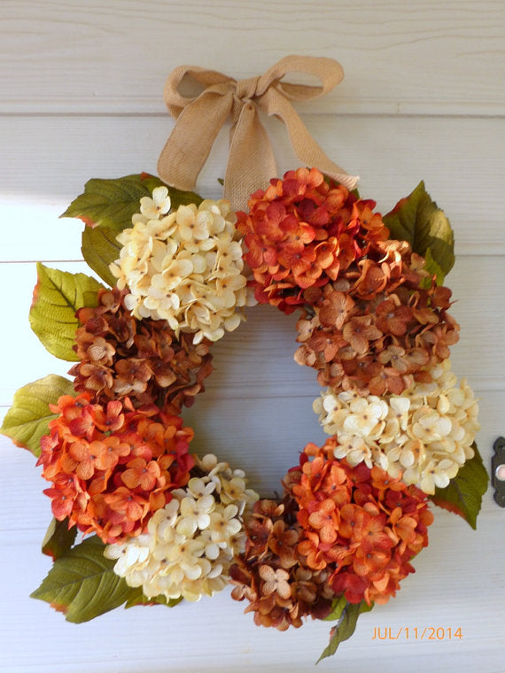 Fall Hydrangea Wreath - Fall Wreath - Autumn wreath - Hydrangea wreath - Julie Butler Creations