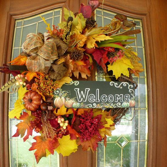 Wreaths for Fall - Fall Decor - Welcome wreath - Holiday decor - Thanksgiving Wreath - Autumn Wreath