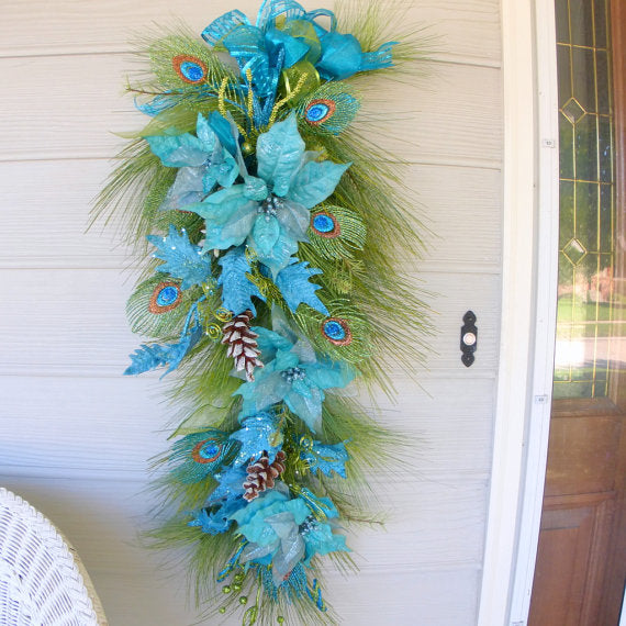 Peacock Door Swag - Christmas Wreath - Wreaths - Holiday Decorations - long door swags - Julie Butler Creations