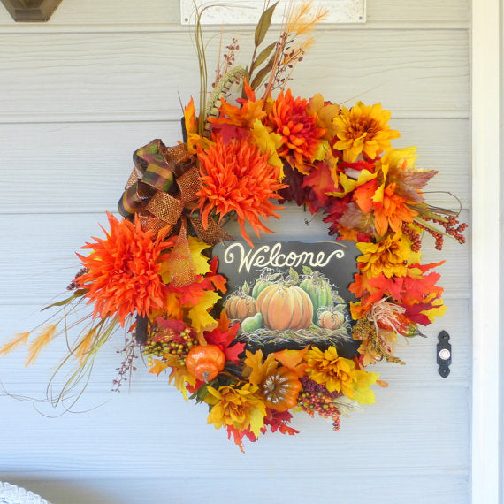 Wreaths - Welcome wreath - Fall Wreaths - Thanksgiving Wreath - Autumn Wreath -