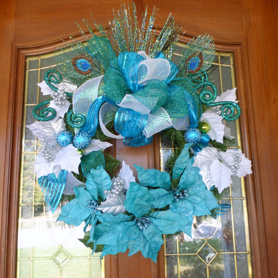 peacock christmas wreath christmas decorations wreaths holiday door decor poinsettia wreath - Peacock Christmas Decorations