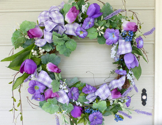 Lavender Front Door Tulip Wreath - wreaths - door wreath -Spring Wreath - Summer Wreath - Julie Butler Creations