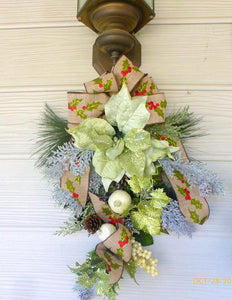 Poinsettia Door Swag - Christmas Wreath - Christmas door swag - Sage Green Holiday Door Decorations - Julie Butler Creations