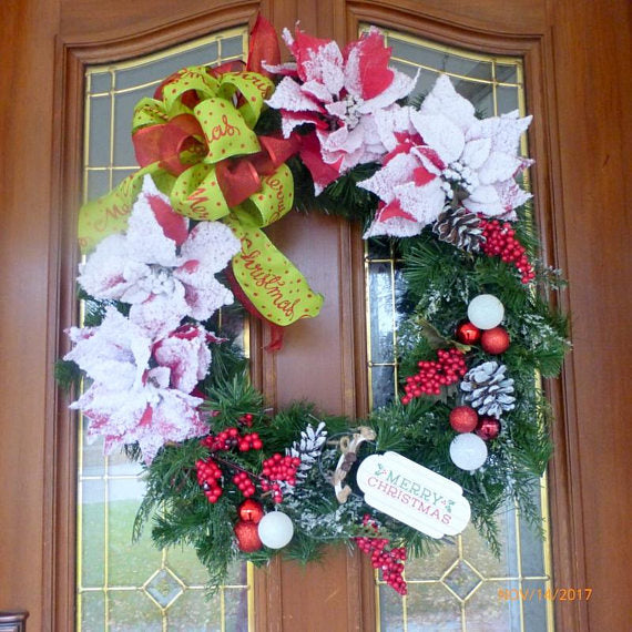 Red And Green Christmas Wreath Holiday Door Decor Holiday