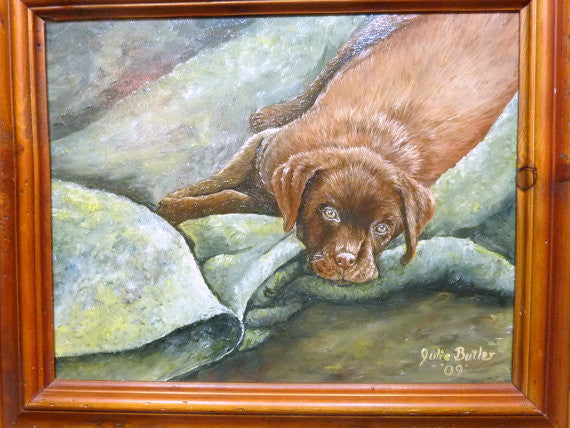 Chocolate Lab painting - Original Oil painting - Chocolate Lab Puppy - Dog painting - Julie Butler Creations