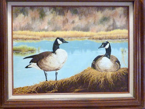 Wildlife painting - Oil painting - Canadian Geese picture - wildlife art - Julie Butler Creations