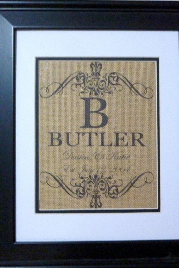Personalized Burlap Name sign - Est. date - Family Name - Mr and Mrs - Julie Butler Creations