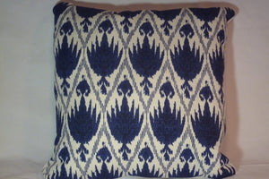 Ikat pillow cover - Navy Blue and White - decorative pillow cover - Designer fabric - Julie Butler Creations