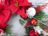 Red Poinsettia Christmas Wreath - Christmas Decorations - Holiday decorations - Holiday Wreaths - Julie Butler Creations