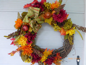 Front door wreath - Autumn Wreath - wreaths - decorative wreaths - Fall wreath - Julie Butler Creations