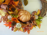 Fall Wreath - Berry and Pumpkin Wreath - Holiday decor - Thanksgiving Wreath - Julie Butler Creations