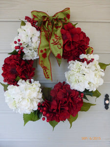 Hydrangea Wreaths - Christmas Decor - Christmas Wreaths - Wreaths - Holiday Door decor - Julie Butler Creations