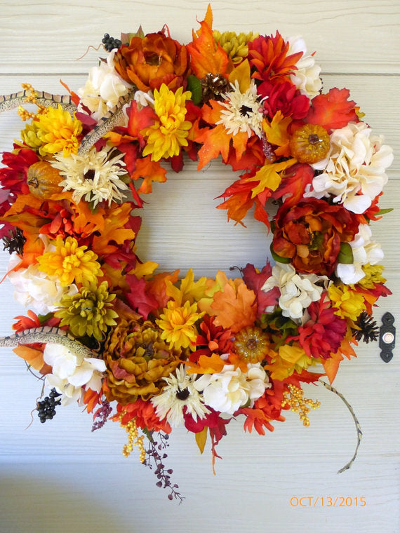 Fall Wreaths - Front door wreaths - Autumn Wreaths - Floral wreaths - Thanksgiving wreaths - Julie Butler Creations