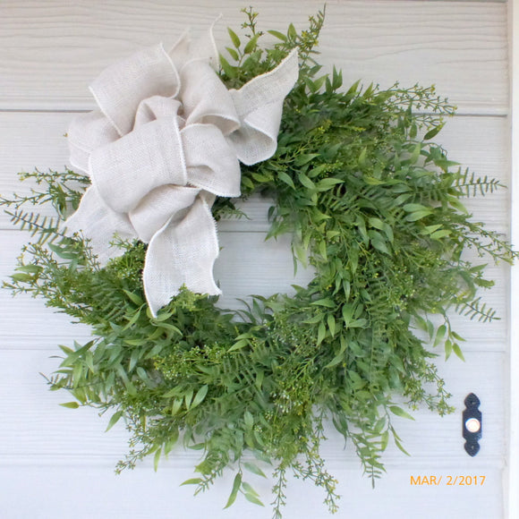 Mixed Greeney Wreath - Summer wreaths - door wreath -All Season Wreath- Home decor - Julie Butler Creations