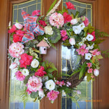 Spring Wreath - wreaths -Summer wreath - Wedding Wreath - Pink and white door wreath
