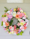 Pastel Wedding Wreath - Spring Wreath - Summer wreath -Pastel floral wreath - Wedding decorations - Julie Butler Creations