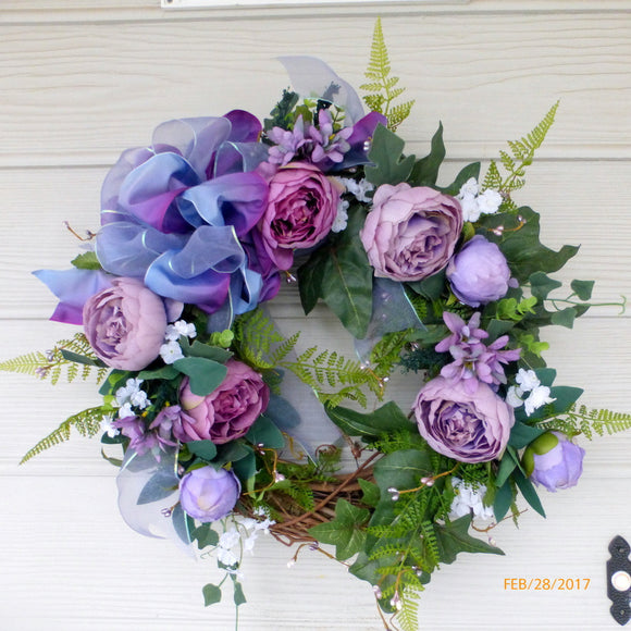 Wedding wreath - Violet and Lavender Cabbage Rose Wreath - Wedding flowers -Front door decor