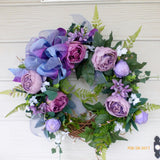 Wedding wreath - Violet and Lavender Cabbage Rose Wreath - Wedding flowers -Front door decor - Julie Butler Creations