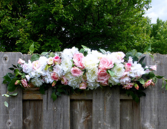 Wedding Arch - Pink and white Roses - Wedding Flowers - Wedding Arbor Decorations