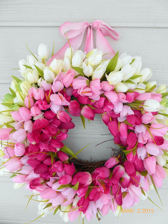 Spring Tulip Wreaths - Wreaths - Summer Wreath - Easter wreaths- Pink Tulips