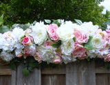 Wedding Arch - Pink and white Roses - Wedding Flowers - Wedding Arbor Decorations - Julie Butler Creations