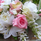 Pink and white Wedding Arbor swag - Wedding Flowers - Wedding Arbor Decorations - - Julie Butler Creations