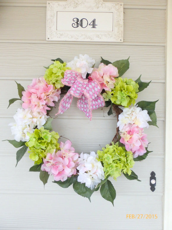 Hydrangea Wreath- door wreath -Wreaths - door decor - Spring Wreath - Easter decorations - Julie Butler Creations
