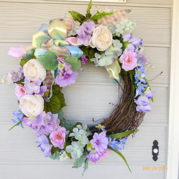 Pastel Rose Wedding Wreath - Spring Wreath - Summer wreath -Wedding decorations - Julie Butler Creations