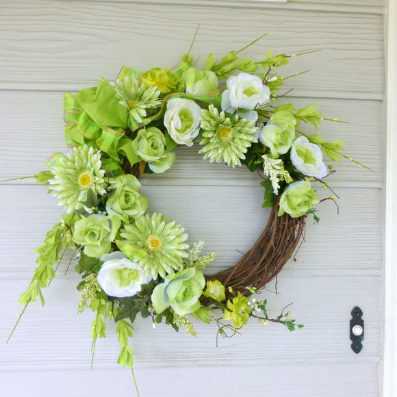 Front door decor - Green and white spring wreath - Wedding Wreath - Julie Butler Creations