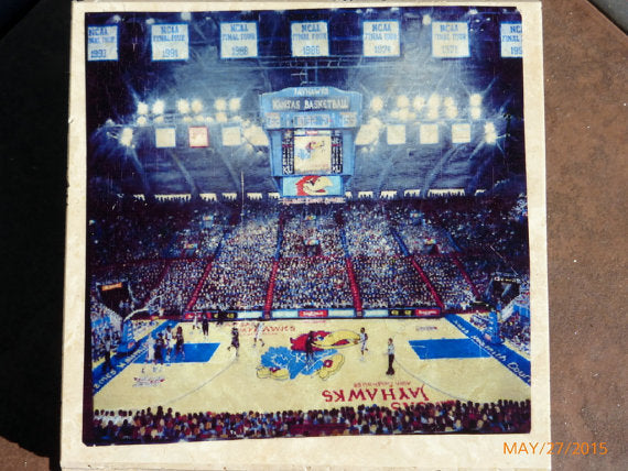 Basketball coasters - Stone Coasters - KU Coasters - Allen Field house - Sports Coasters