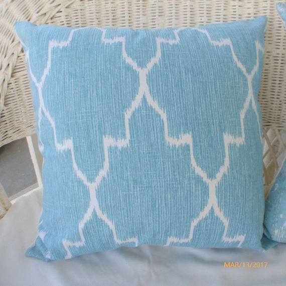 Ikat pillow cover - Mist and White - Lacefield Monaco Ikat pillow cover - decorative pillow cover - Julie Butler Creations