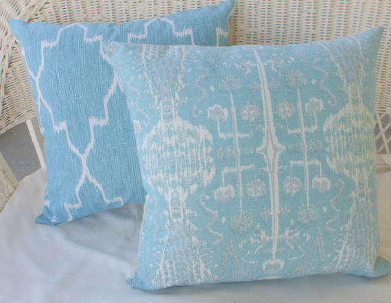 Ikat Pillow covers - Lacefield Ikat pillow cover - Designer fabric - Blue pillow covers - pillows - Julie Butler Creations