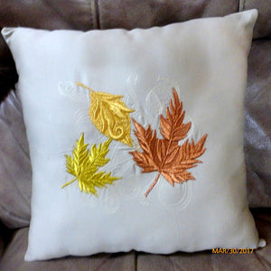 Fall Pillow - Fall leaves pillow -Embroidered Accent Pillow - Decorative pillow 14x14 - Julie Butler Creations