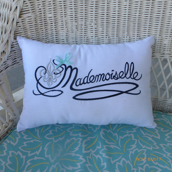 Embroidered Mademoiselle Pillow - Paris Pillow -Decorative Throw Pillow - Pillows - bed pillow - Julie Butler Creations