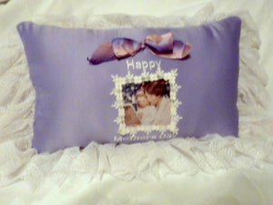 "Decorative Pillow, Mothers Day Gift, 11x19, lavender bridal satin, 5"" lace trim, mother & daughter - Julie Butler Creations"