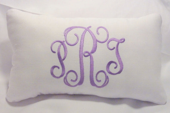 Monogrammed Linen Pillow - Accent pillows - Embroidered Pillow - personalized pillow - Julie Butler Creations