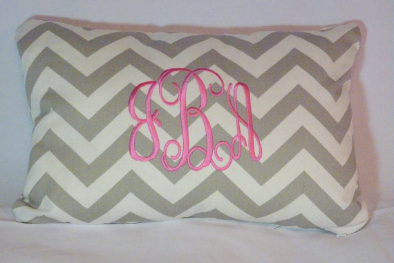Monogrammed Pillow - Personalized Pillow cover - Embroidered Pillow - Chevron pillow cover