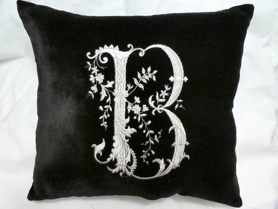 Monogram Pillow - Black Velvet Personalized Wedding Gift - Wedding gifts - Personalized pillow - Julie Butler Creations