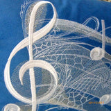Music Pillow Cover - Embroidered Music Notes pillow - Royal Blue suede pillow covers - Julie Butler Creations