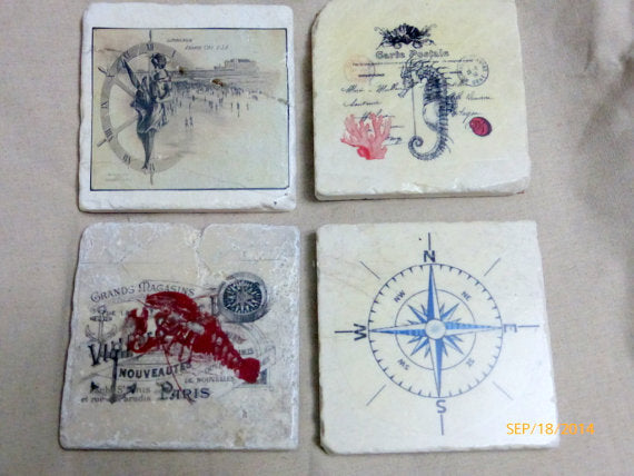 Nautical Coaster sets - Coaster sets - Stone Coasters - Tile Coasters - Julie Butler Creations